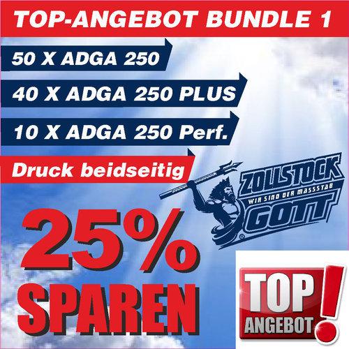 Angebot / Bundle 1 / Jetzt 25% Sparen. 100 Stück Zollstöcke inkl. Premiumdruck, 3 unterschiedliche Adga 250er Serie