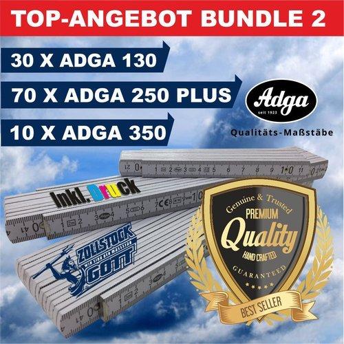 Angebot / Bundle 2 - Jetzt 15% Sparen. 110 Stück Zollstöcke inkl. Premiumdruck, 3 unterschiedliche Adga Zollstockmodelle