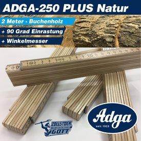 Zollstock ADGA 250 Plus-NATUR mit Winkeleindruck im 1. Glied, PLUS 90° Grad Rastung / Inkl. UV-Digitaldruck