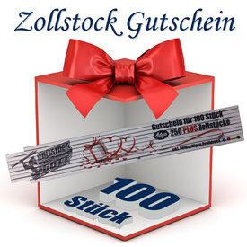 Zollstock Gutschein 100Stück mit beidseitigen Druck