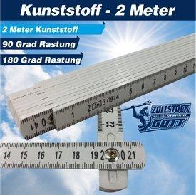 Kunstoff Zollstock 2 Meter PVC mit 90° und 180° Rastung