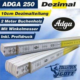 ADGA-250-Dezimalteilung GELB - WEISS mit Standardwinkelmesser