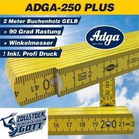 Zollstock ADGA 250 Plus-GELB mit Winkeleindruck im 1. Glied, PLUS 90° Grad Rastung / in 2 Druckmodis (Einzigartig)