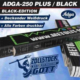 Zollstock ADGA 250 Plus-Schwarz mit, 90° Grad Rastung / in 2 Druckmodis (Einzigartig)