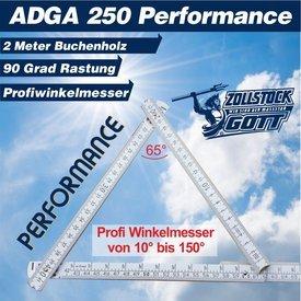 Zollstock (ADGA-250-Performance) mit Profi-Winkeleindruck am dritten und vierten Glied, PLUS 90° Grad Rastung, inkl. Standardwinkelmesser